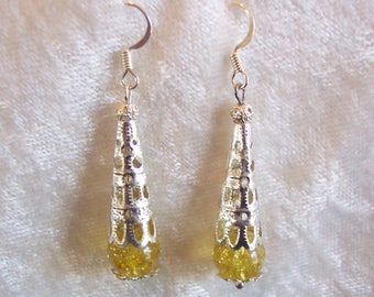Yellow Earrings, Silver Filigree Earrings, Yellow Crackle Glass Earrings, Yellow Drop Earrings, Clip ons Available