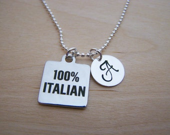 100% Italian Charm - Personalized Necklace - Custom Initial Necklace - Silver Necklace - Initial Jewelry - Monogram Necklace - Gift for Her