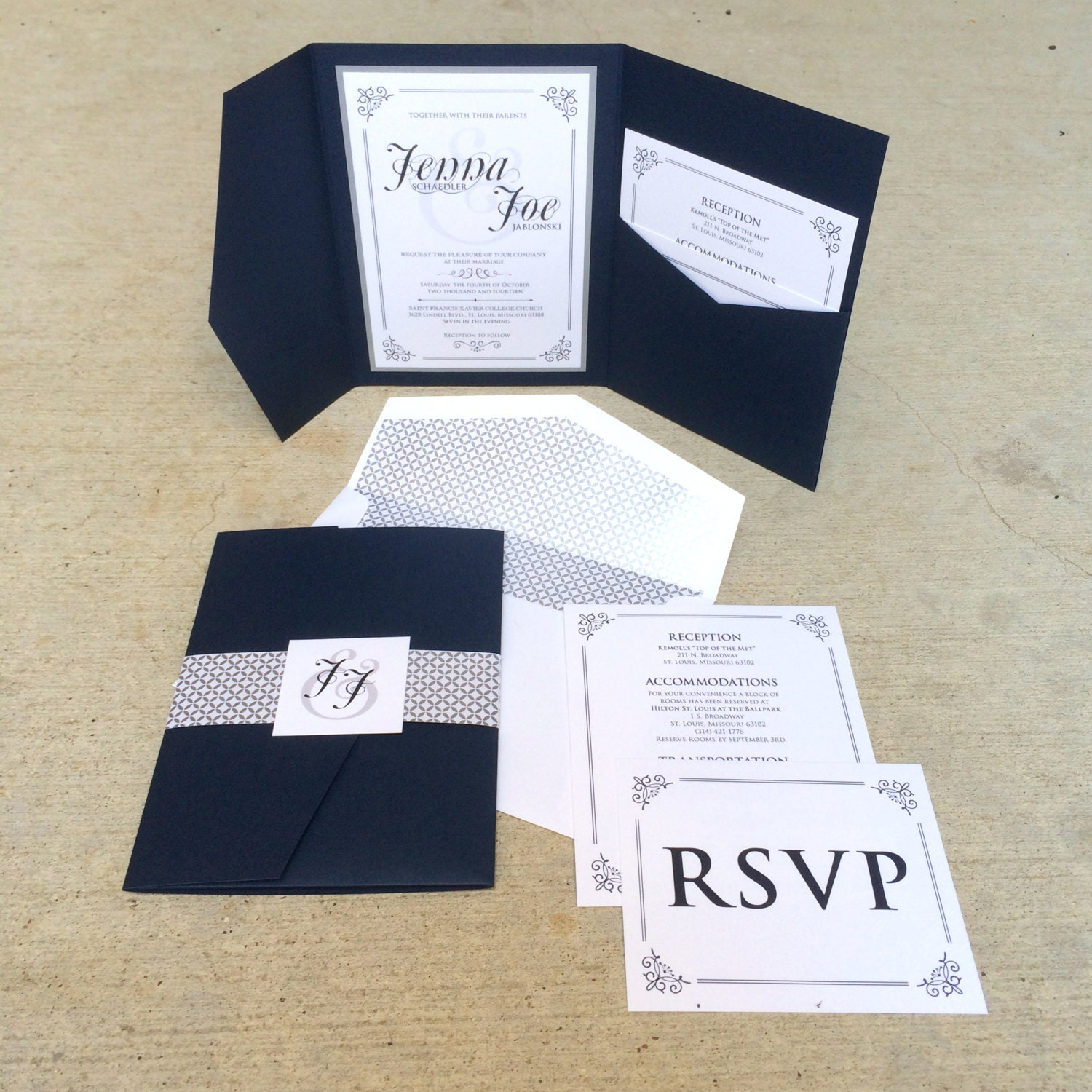 Sample 5x7 navy and silver vintage pocket wedding invitation with sample 5x7 navy and silver vintage pocket wedding invitation with envelope liner enclosure band monogram with details and rsvp inserts stopboris Choice Image