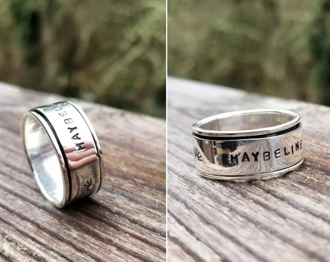 Custom Wide Sterling Silver Spin Ring - Spinner Ring - 14mm Wide, 3 rows of text possible, message ring, worry ring, Hand stamped
