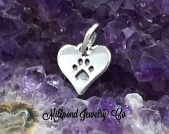 Paw Print Charm, Paw Print Pendant, Paw Charm, Animal Lover Charm, Dog Lover, Sterling Silver Charm, TINY, PS01435