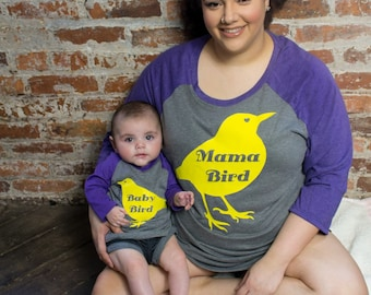 Baby Bird, Mommie & Me, Infant Baby V-Neck Baseball Raglan T-shirt in 5 Colors in Sizes 6 Months-24 Months