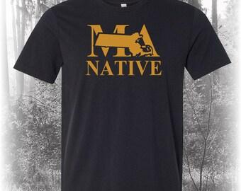 Black Massachusetts Native Shirt, Native Massachusetts Shirt, Massachusetts Shirt, MA Shirt, Massachusetts State Shirt