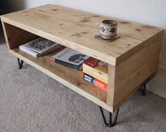 Reclaimed Wood Coffee Table/Media Unit With Hairpin Legs