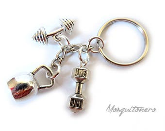 Kettlebell keychains, weights, fitness, body building, barbell, silver-colored metal, gym, for him, for her,