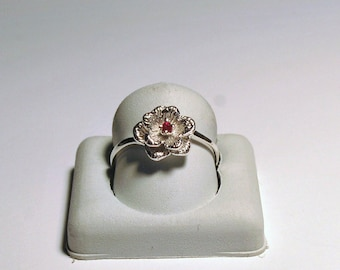 a flower sterling silver and genuine ruby ring