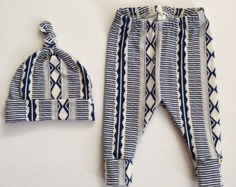NEW! Midnight Tribal/Newborn Outfit/Infant Leggings and Top Knot Hat/Bring Home Outfit