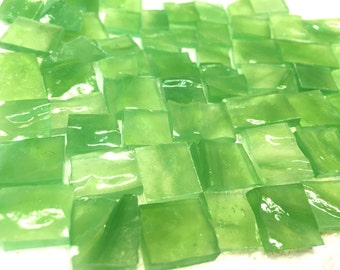 50 RIPPLE APPLE GREEN Odd Translucent Stained Glass Mosaic Tile O5