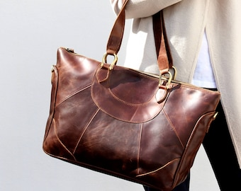 Large Leather Handbag Purse in Vintage Brown