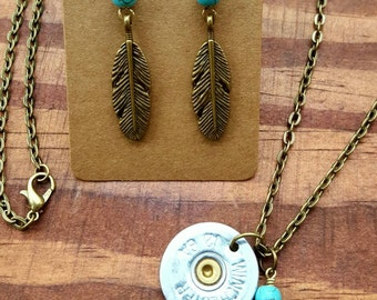 Shotgun shell necklace, 12 gauge, Necklace and earring set, bullet jewelry, feather and turquoise, shotgun shell jewelry