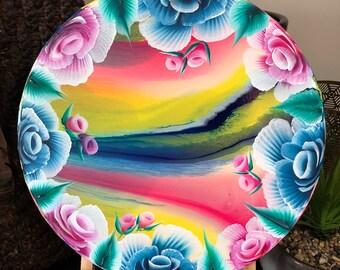 Floral Art, Fluid art, acrylic art, handprinted, unique, abstract art, Flowers, presents, gift, canvas art,