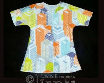 NICU Approved Gown -Skyscraper City - Micro Preemie Clothes - Preemie Clothes
