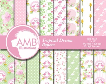 Flamingo Digital Papers, Tropical Floral Papers, Shabby chic papers, Tropical Scrapbook Papers, Floral Digital Backgrounds, AMB-1048