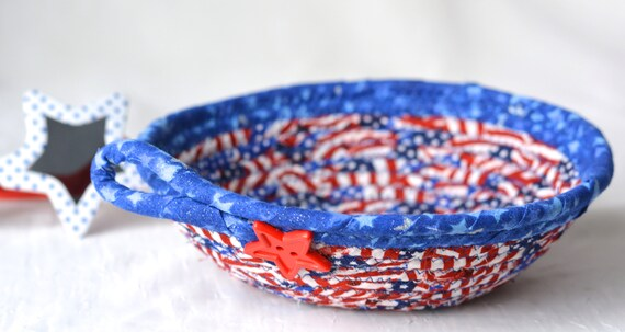 4th of July Decor, Handmade Red White and Blue Party Bowl, Toothpick Bowl, Veteran Gift Basket, Cookout BBQ Decoration