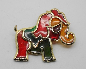 "Vintage Resin ""stained glass"" style abstract Figural Elephant Brooch"