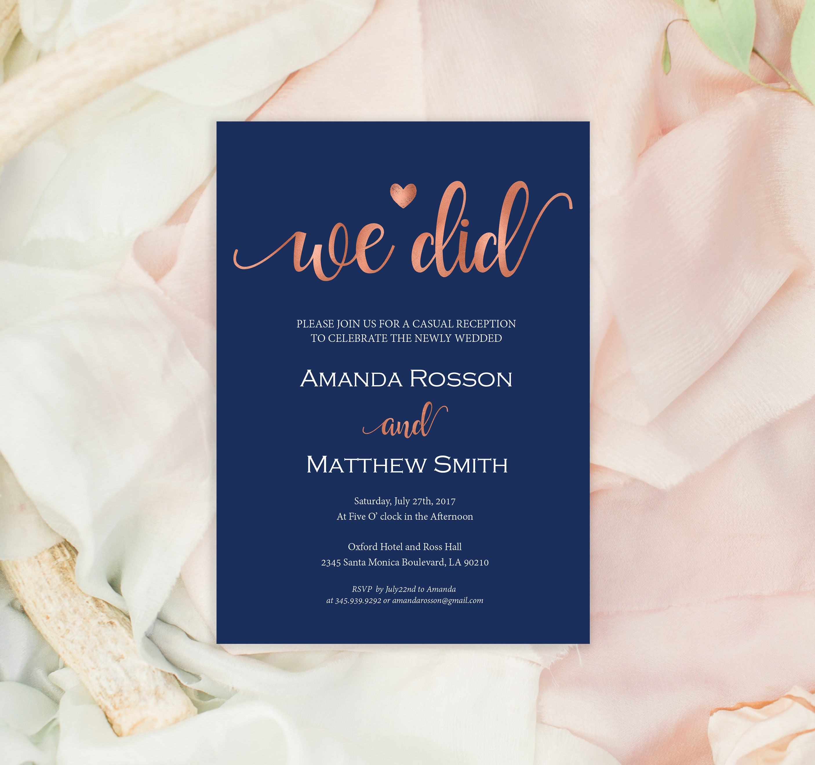 Elopement Announcement Printable We Did Navy and rose gold