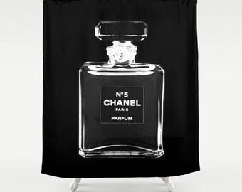 Shower Curtain, Chanel Inspired, Girls Bathroom Decor, Fashion Decor, Fashion Illustration, Girls Shower Curtain, Gift for Her, Black, Red