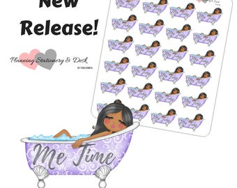 Bath Stickers Me Time Stickers African American Brown Skin
