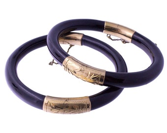 2 Black Bangles with Gold Plated Detailing