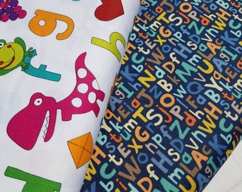 Alphabet Packed or Alphabet w/Pictures Cotton Fabric by Andover