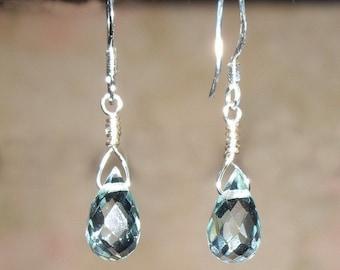 Blue Topaz Briolette Earrings in Sterling Silver