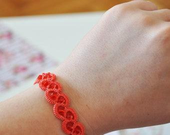 Coral Color Lace Bracelet | Bracelet | Fashionable Bracelet | Handmade Bracelet | Summer Bracelet | Gift | Fashionable Gift | Handmade Gift