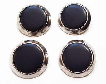 4 large buttons made of sterling silver and Navy Blue resin 30 mm / top quality