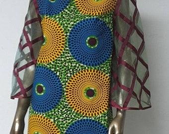 AYAWAX Collection. African Print Mini Shift Dress. Lattice Organza Bell Sleeves. Handmade. Womens. Fabrics Available.
