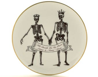 Customized Aniversary Gift, Personalized Names Date, Till Death Do Us Part, Halloween Wedding, Plate Vintage Porcelain, Skeleton Skull Crown