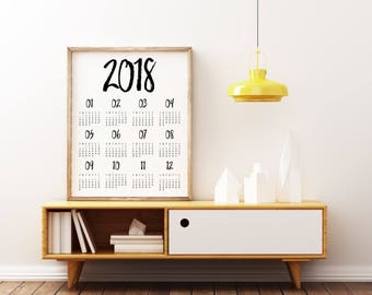 2018 wall Calendar, Printable Calendar 2018, Desk Calendar PDF Download, Monthly Calendar, Calendar Poster, 2018 Yearly Wall Planner
