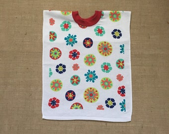 Towel Bib Circle and Flower XL toddler bib, pull over towel bib, terry towel bib, baby and child care, baby gift, baby feeding, large bib