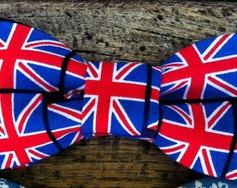 Bow Tie or Flower Collar Attachment & Accessory for Dogs and Cats  / Union Jack BRITISH Flag Bow Tie