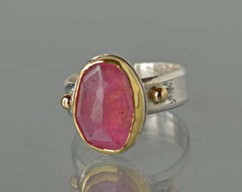 Sapphire Ring, Gold and Silver, Natural Pink Sapphire Cocktail Ring, Large Rose Cut Pink Stone Ring, Statement Ring, Size 6.5 Ring