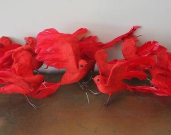 Lot of 8 Vintage Spun Cotton Red Christmas Birds Spun Cotton Floral Red Birds Vintage Spun Cotton Birds