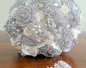 Crystal Bouquet - Brooch Bouquet - Broach Bouquet - Flower Bouquet - Alternative Bouquet - Custom Flower Bouquet - Pearl Bouquet – DEPOSIT