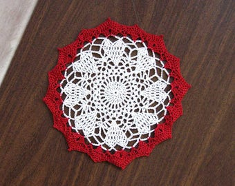 Circle of Hearts Crochet Lace Doily, Red and White Lace, Crochet Heart Doily, Romantic, Elegant Home Decor, 8 Inch Doily, Gift for Her