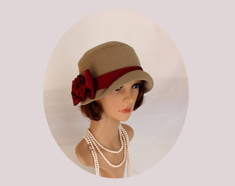 Sand Gatsby hat with oxblood satin, 1920s cloche hat, flapper hat, Downton Abbey hat, Miss Fisher hat, 1920s fashion, high tea cloche hat