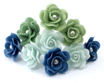 Miniature Roses Handcrafted Clay with Pearl bead, 12 pcs.