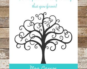 Fingerprint Tree Teacher Gift, Thumbprint Tree Teacher Gift, Teacher Appreciation Baby Shower, Bridal Shower, Birthday Party, 8x10 Printable