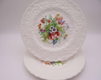 Vintage Alfred Meakin Hand Embellished Floral Salad Plate - MEA246 - 3 Available