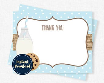 Milk and Cookies Thank You Cards, Cookie Thank You Notes, Birthday Thank You, Boys Thank You Cards, Printable INSTANT DOWNLOAD