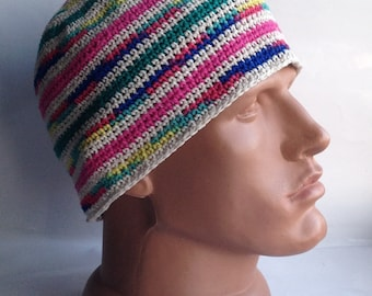 Hippy style beanie chapeau bonnet Chunky bonnet coloré d'été bonnet casquette tête de mort chapeau bonnet Kufi en coton Mens yoga chapeau court beanie