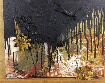 golden hour mixed media painting