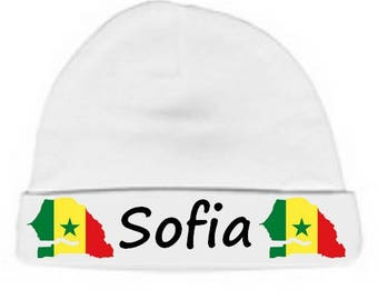 Personalized with name White Senegal baby bonnet