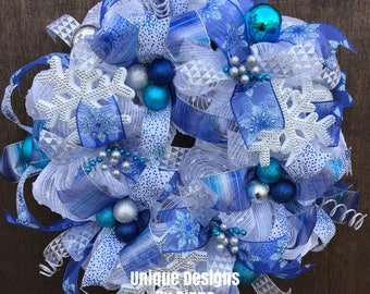 Items Similar To Winter Wreath Snowflake Deco Mesh Wreath