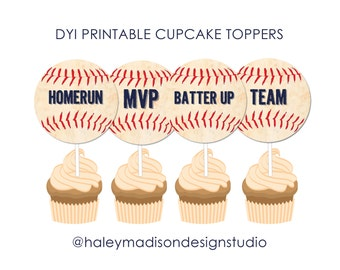 Baseball Cupcake Toppers, Baseball Baby Shower Cupckae Toppers, Babseball Birthday Cupcake Toppers DIGITAL FILE