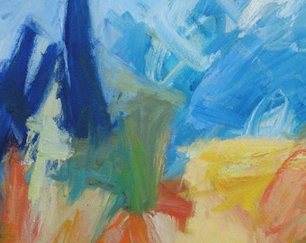 Cypress GICLEE ART PRINT 11 x 17 italy abstract landscape yellow orange blue