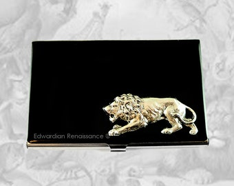 Prowling Lion Business Card Holder Safari Inspired Inlaid in Hand Painted Black Enamel Metal Card Case Custom Color and Personalized Options