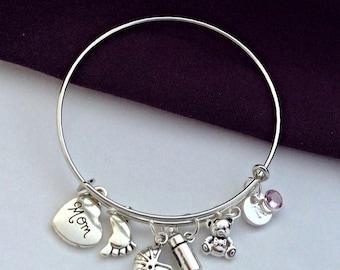 New mom jewelry gifts, moms charm bracelet jewelry, mother's bangle bracelet, personalized charm bracelet, birthstone bangle mom  bracelet