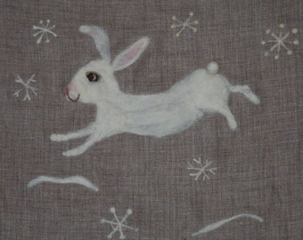 White snow rabbit pillow , needle felted rabbit cushion, white rabbit for Winter